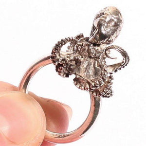 Sterling Silver Baby Octopus Ring Size 6 - Zulasurfing Jewelry  - 1