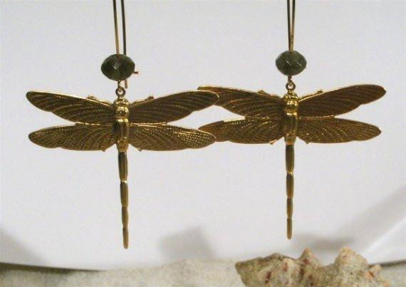 Brass Dragonflies kidney wire Earrings with faceted Labrodorite stone - Zulasurfing Jewelry  - 1