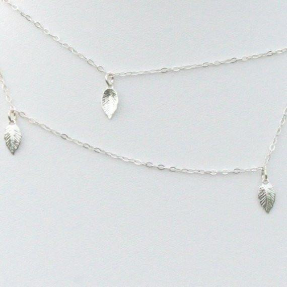 Fabulous 925 Sterling Silver Necklace with Delicate Sterling Silver leafs - Zulasurfing Jewelry  - 1