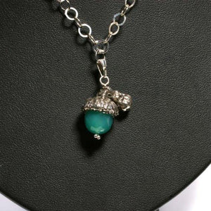 Sterling silver Acorn Necklace with Green Onyx stone - Zulasurfing Jewelry  - 1