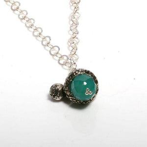 Sterling silver Acorn Necklace with Green Onyx stone - Zulasurfing Jewelry  - 2