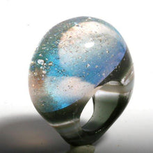 Load image into Gallery viewer, Outragous Dichroic Silver Color Glass ring size 4.5 - Zulasurfing Jewelry  - 1