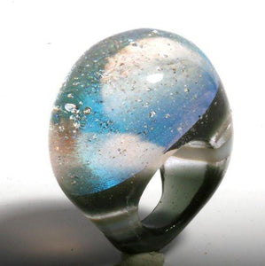 Outragous Dichroic Silver Color Glass ring size 4.5 - Zulasurfing Jewelry  - 1