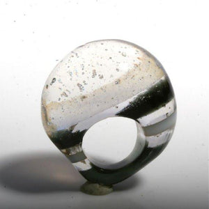Outragous Dichroic Silver Color Glass ring size 4.5 - Zulasurfing Jewelry  - 2