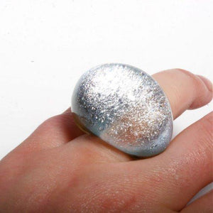 Outragous Dichroic Silver Color Glass ring size 4.5 - Zulasurfing Jewelry  - 4