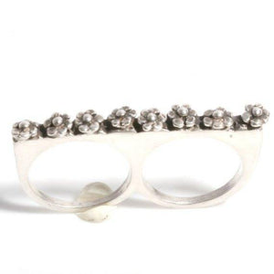 Sterling Silver Daisy flower 2 Finger Ring - Zulasurfing Jewelry  - 2