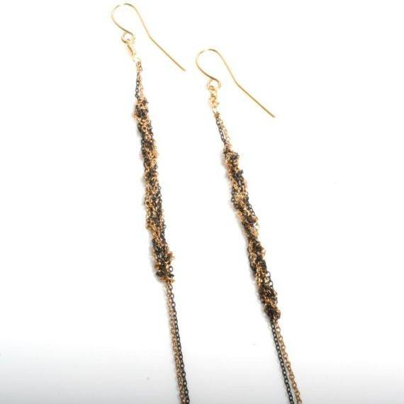 Delicate Antiqued silver and Gold filled Crochet earrings - Zulasurfing Jewelry  - 1