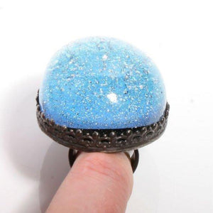 Larger than life Dichroic glass in Sterling silver cocktail ring - Zulasurfing Jewelry  - 1