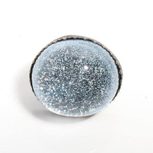 Larger than life Dichroic glass in Sterling silver cocktail ring - Zulasurfing Jewelry  - 2