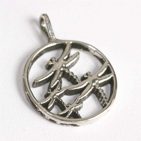 Round Dragonfly pendant Contemporary Design - Zulasurfing Jewelry
