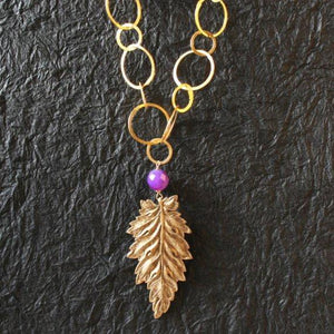 24k gold plated leaf and purple jade link chain necklace - Zulasurfing Jewelry  - 2