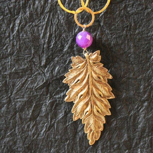 24k gold plated leaf and purple jade link chain necklace - Zulasurfing Jewelry  - 1