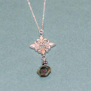 Beautiful 925 sterling silver fluer de lis with a slab of tourmaline - Zulasurfing Jewelry  - 2