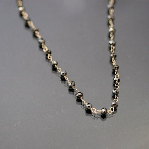 18k gold Black Diamond Bead Necklace - Zulasurfing Jewelry  - 1