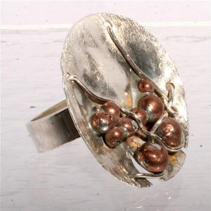 Sterling silver with copper hand forged ring size 6 - Zulasurfing Jewelry  - 2
