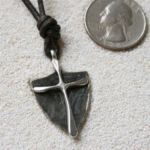 Load image into Gallery viewer, Surfer Necklace with silver Mens Cross Pendant