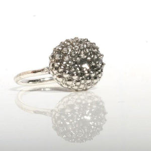 Sterling silver baby sea urchin ring - Zulasurfing Jewelry  - 2