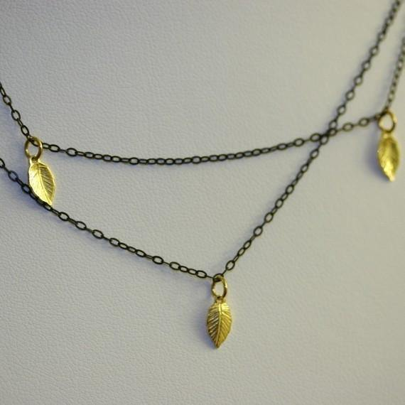 Blackened Silver Necklace with 18k Gold Vermeil Leaves - Zulasurfing Jewelry  - 1