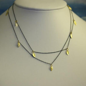 Blackened Silver Necklace with 18k Gold Vermeil Leaves - Zulasurfing Jewelry  - 3