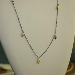 Blackened Silver Necklace with 18k Gold Vermeil Leaves - Zulasurfing Jewelry  - 2