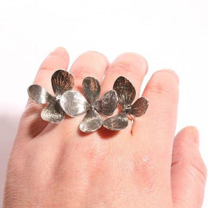 Gorgeous 3 Flower two finger  Silver adjustable ring - Zulasurfing Jewelry  - 2