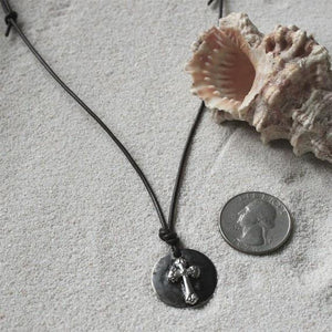 Surfer Necklace with Mens Cross Pendant - Zulasurfing Jewelry  - 3