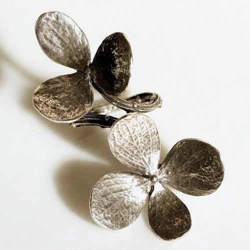 Double flower and branch ring is solid sterling silver - Zulasurfing Jewelry  - 1