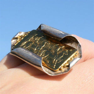 24k gold plated cameo ring in sterling silver - Zulasurfing Jewelry  - 2
