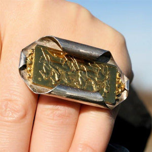 24k gold plated cameo ring in sterling silver - Zulasurfing Jewelry  - 3