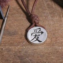 Load image into Gallery viewer, Surfer necklace with Chinese Love Symbol Pendant - Zulasurfing Jewelry  - 2