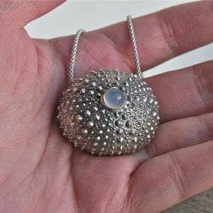 Sterling silver Sea Urchin Necklace - Zulasurfing Jewelry  - 4