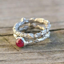 Load image into Gallery viewer, Sterling silver bush branch and ruby wedding ring set - Zulasurfing Jewelry  - 1