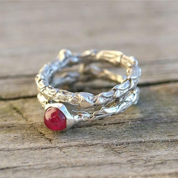 Sterling silver bush branch and ruby wedding ring set - Zulasurfing Jewelry  - 1