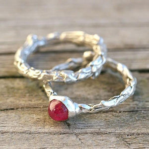 Sterling silver bush branch and ruby wedding ring set - Zulasurfing Jewelry  - 2