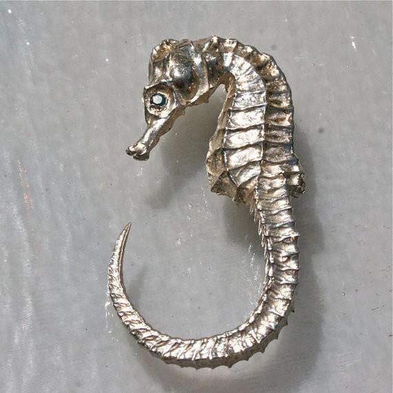 Seahorse ring Sterling Silver with Diamonds eyes - Zulasurfing Jewelry  - 1