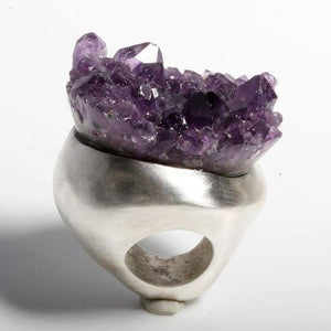 Enormous Sterling silver and Amethyst ring size 6 - Zulasurfing Jewelry  - 3