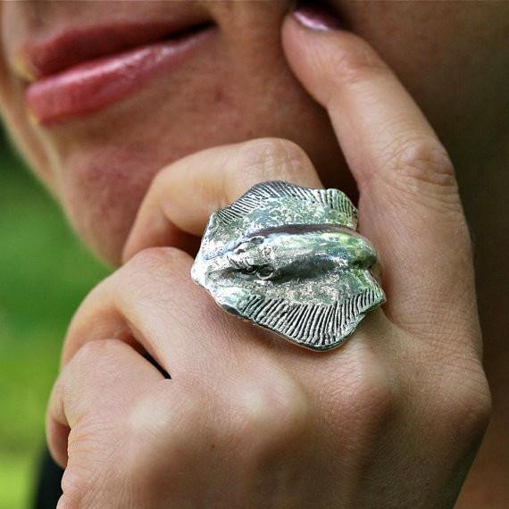 Manta Ray Sterling Silver Adjustable ring - Zulasurfing Jewelry  - 1