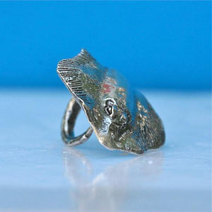 Manta Ray Sterling Silver Adjustable ring - Zulasurfing Jewelry  - 4