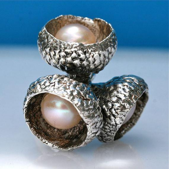Exquisite Sterling silver & pearl acorn ring size 6.5 - Zulasurfing Jewelry  - 1
