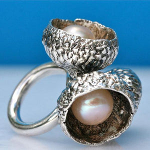 Exquisite Sterling silver & pearl acorn ring size 6.5 - Zulasurfing Jewelry  - 3