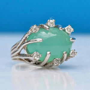 Amazing Sterling silver chalcedony and cz ring vintage style size 6 - Zulasurfing Jewelry  - 1