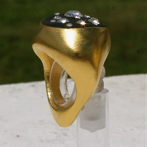 24K Gold Plated Ring with Swarovski Crystals Size 6 - Zulasurfing Jewelry  - 3