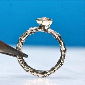 Sterling silver bush branch ring & yellow rose cut diamond engagement ring - Zulasurfing Jewelry  - 3