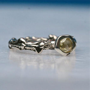 Sterling silver bush branch ring & yellow rose cut diamond engagement ring - Zulasurfing Jewelry  - 5
