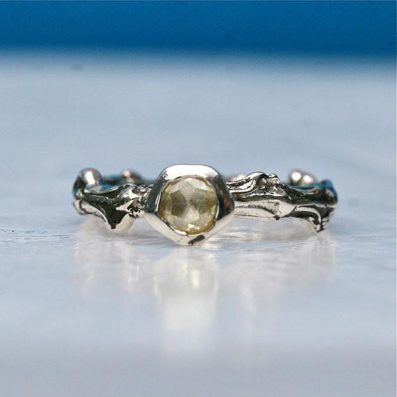 Sterling silver bush branch ring & yellow rose cut diamond engagement ring - Zulasurfing Jewelry  - 1