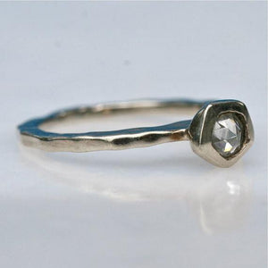 Gorgeous 14k white gold and beautiful clear rose cut diamond engagement ring size 5 1/4 - Zulasurfing Jewelry  - 4