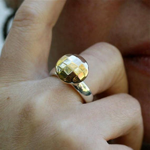 Sterling silver ring with a silver gold plated stone set atop size 6.5 - Zulasurfing Jewelry  - 1