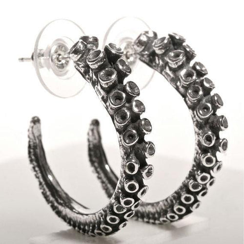 Octopus tentacle Earrings silver hoop - Zulasurfing Jewelry  - 1