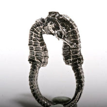 Load image into Gallery viewer, Seahorse Sterling Silver ring size 5-6.5 - Zulasurfing Jewelry  - 1