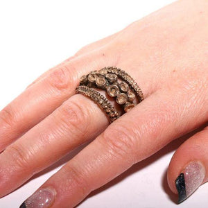 Yellow brass Double Octopus Tentacle ring - Zulasurfing Jewelry  - 2